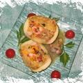 Gratiné de courgettes rondes farcies aux <b>fruits</b> de <b>mer</b>