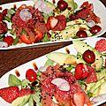 Assiette fraiche avocat, fraises, pamplemousse et mache