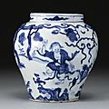 A rare small blue and white quatrelobed 'Four immortals' jar