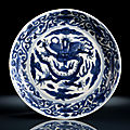 A blue and white imperial dragon and <b>flower</b> dish, underglaze blue Wanli six-character mark and period within double circle