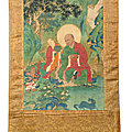 An important and finely painted <b>thangka</b> of luohan Kanakavatsa, Ming dynasty, 15-16th century