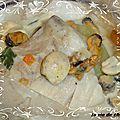 Papillottes de dos de cabillaud, moules, champignons frais