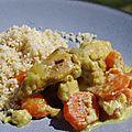 Poulet fondant à la moutarde & au curry, parfumé au cognac, carottes & aubergine