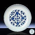 A fine Ming <b>blue</b> <b>and</b> <b>white</b> <b>floral</b> <b>dish</b>, Wanli six-character mark within double-circles <b>and</b> of the period (1573-1619)