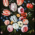 Jan van kessel the elder, tulips, roses, peonies and other flowers in a roemer. dateable to the 1650s