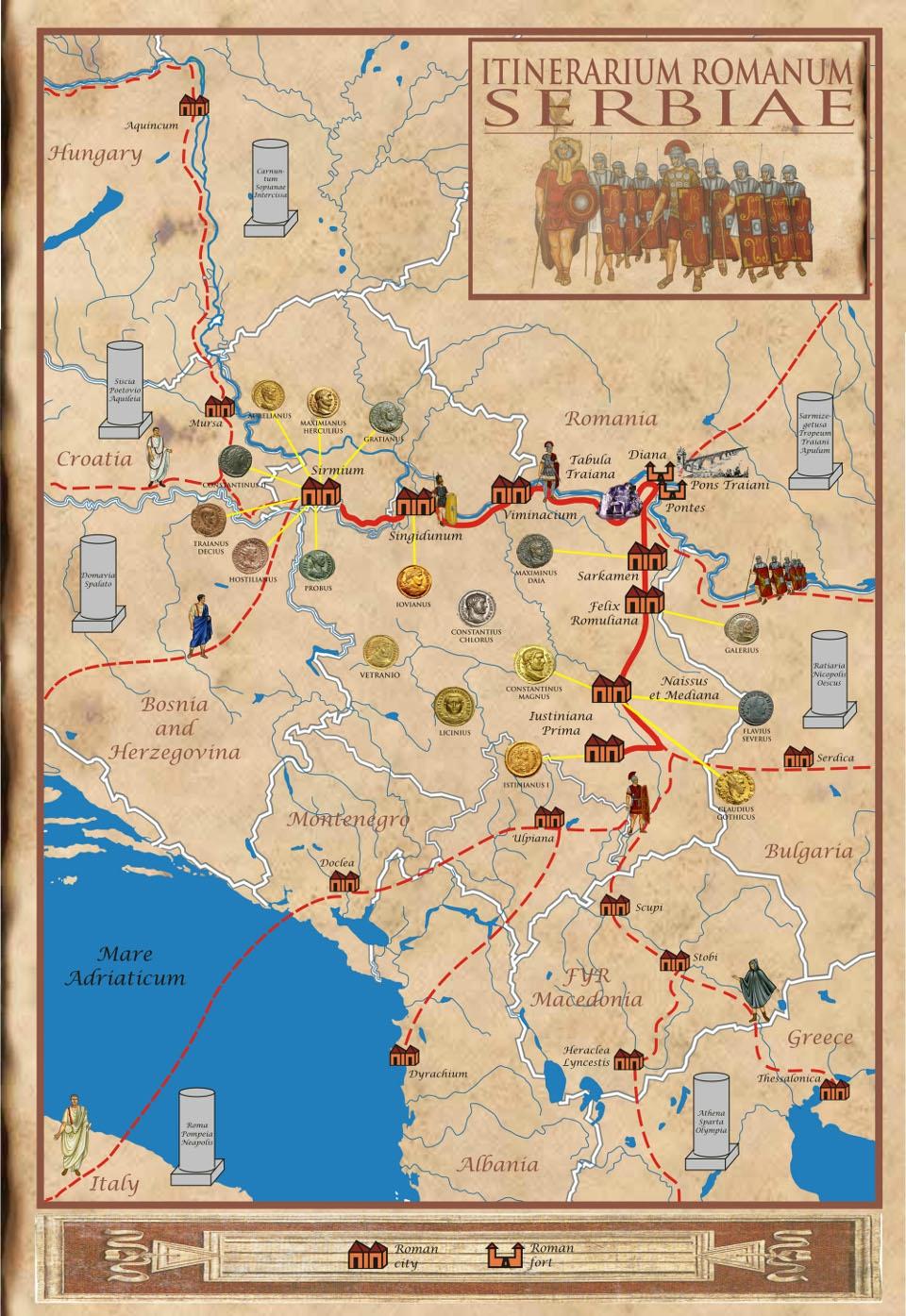 Carte des sites romains en Serbie