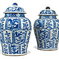 A large pair of Chinese blue and white <b>baluster</b> <b>vases</b> and covers, Kangxi period (1662-1722)