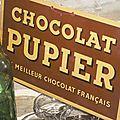 Tole émaillée publicitaire chocolat pupier