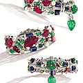 Platinum, Carved Colored Stone, Diamond and Pearl '<b>Tutti</b> <b>Frutti</b>' Bracelet, Cartier