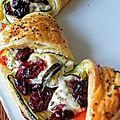 Couronne feuilletée de courgette, ricotta, tomates, cranberries et menthe