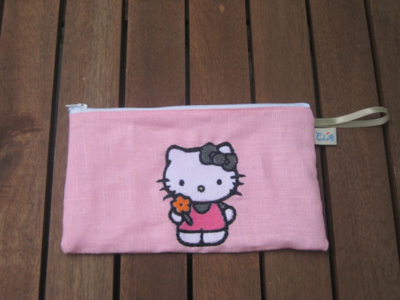 trousse lin rose doublee lin blanc