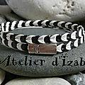 Tout n'est pas noir ou blanc dans la vie, paraît-il ! Et pourtant... Ce <b>bracelet</b> double tour en cuir entremêlés noir et blanc l'