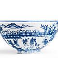 An outstanding blue and white 'Boys' Bowl, Ming Dynasty, Interregnum-<b>Chenghua</b> <b>period</b>