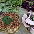 Galettes chou-fleur , quinoa au chèvre et curry