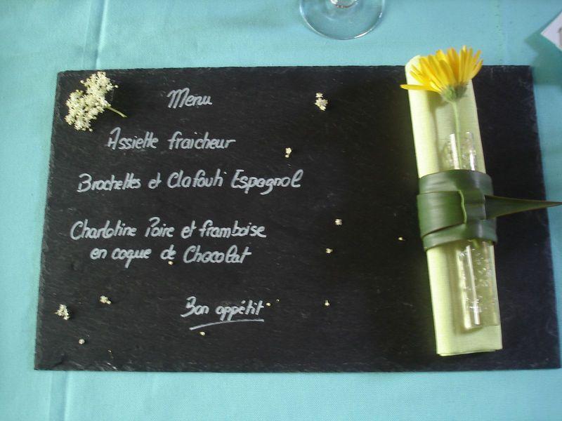 Présentation menu sur ardoise.