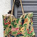 <b>Totes</b> <b>bag</b>, sac cabas, velours lisse, décor jungle ou fleurs style paisley -