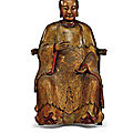 A rare and large gilt-lacquered wood figure of magu, qing dynasty, kangxi period (1662-1722)