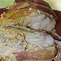 Roti de lotte farci aux crevettes et au poireau