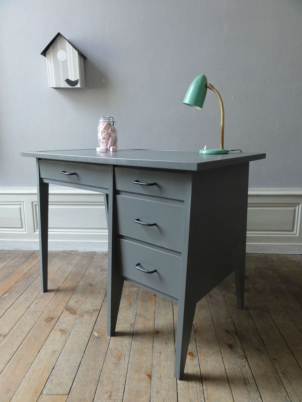 bureau annees 60 anthracite vintage moi. Black Bedroom Furniture Sets. Home Design Ideas