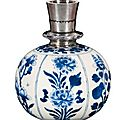 A kangxi blue and white porcelain huqqa base for the indian market, china, 1662-1722 ad