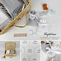 Ballotin à dragées double <b>gaze</b> blanc ou gris perle ruban blanc étiquette papier personnalisée
