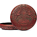 A rare and large three-colour lacquer 'chun' incised gilt box and cover, <b>Qianlong</b> <b>six</b>-<b>character</b> <b>mark</b> and of the period