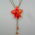 Collier orchidee origami en papier japonais washi orange