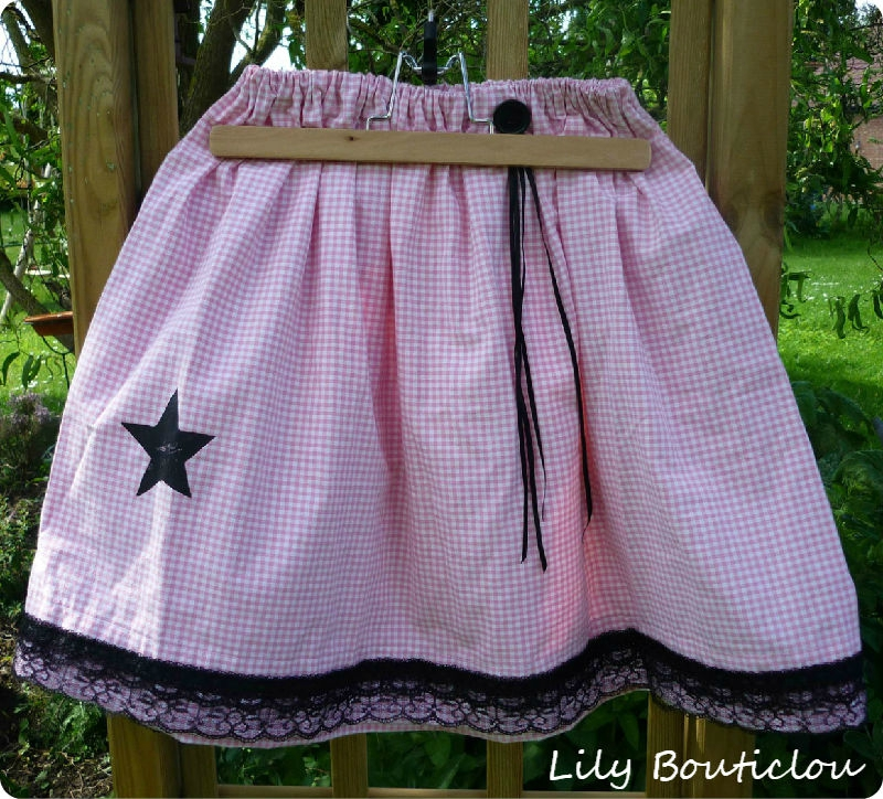 DIY tuto couture jupe enfant fille vichy rock lily bouticlou