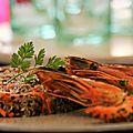 poêlée de gambas, quinoa aux fruits secs