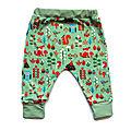 Pantalon Sarouel Coton Biologique <b>Bébé</b> 12 Mois Animaux de la Forêt Vert Menthe