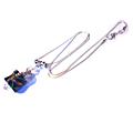<b>Collier</b> argent 925, perle en verre <b>bleue</b> à motifs ondulés