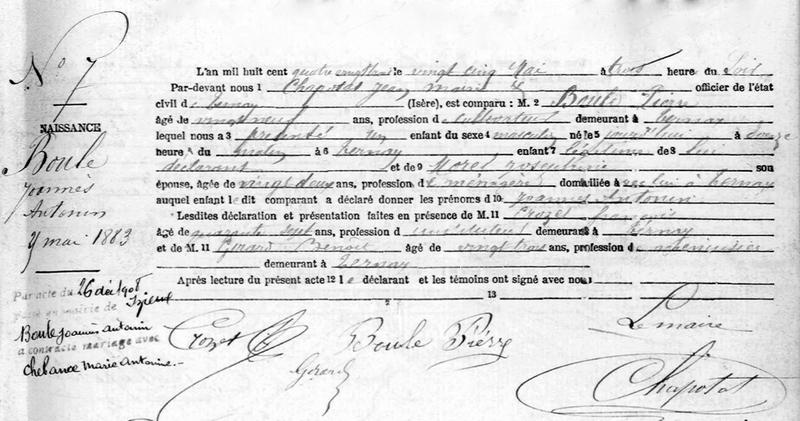 acte de naissance de Joannès Boule 1883