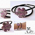Bracelet double buna et fleur céramique violette