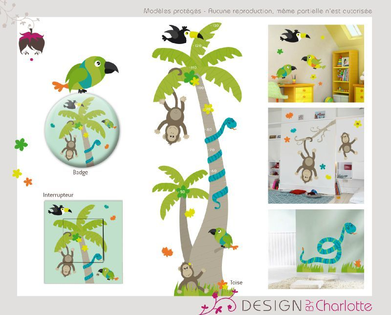 stickers th me animaux de la jungle cr ation de design by charlotte graphiste ind pendante. Black Bedroom Furniture Sets. Home Design Ideas