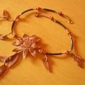 Soleil d'automne, collier en fimo et rocaille, vue 1