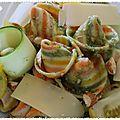 Salade de pâtes et courgettes crues, pesto d'herbes au beaufort et aux amandes