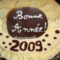 Gâteau Bonne Année entremet au chocolat blanc 1