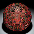 A superbly carved cinnabar lacquer 'chun' box and cover, qianlong mark and period (1736-1795)