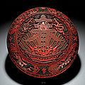 A superbly carved cinnabar lacquer '<b>chun</b>' <b>box</b> <b>and</b> <b>cover</b>, Qianlong mark <b>and</b> period (1736-1795)