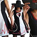 MOD 396A Robe Saint valentin Bicolore noir Blanc écru rouge à pois coeur made in France créateur mode 2016
