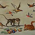 Jan van kessel the elder (1626 antwerp 1679), birds flying around a monkey