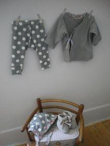 jersey coton gris pois