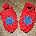 chausson rouge étoile bleue
