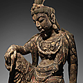 A very rare carved <b>wood</b> <b>figure</b> of Guanyin, Northern Song-Jin Dynasty (960-1234)