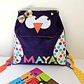 Sac d'école fille maternelle hibou chouette personnalisé prénom Maya