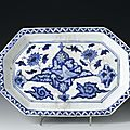 <b>Octagonal</b> <b>dish</b> of glazed earthenware decorated with a bird and flowers in blue: Persia, 16th or 17th century