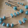 collier rayé turquoise