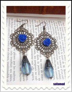 Boucles d'oreilles estampes perles en verres et fimo