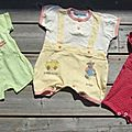 3 combi-short ou salopette dont 1 <b>Natalys</b> 1 mois ETE MIXTE 8€