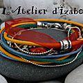 Envie de couleur et de peps ?! Avec ce <b>bracelet</b> multirangs en liberty noir et motifs multicolores, cuir jaune, coton ciré bleu..